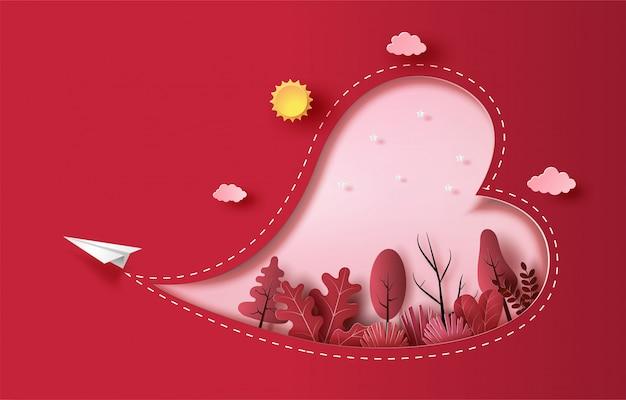 ハート形と植物、ペーパーアートスタイル、フラットスタイルの図で空を飛んでいる紙飛行機。