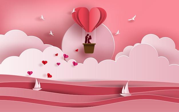 風船で海を渡るカップル