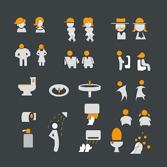 Мужской и женский знак с набором иконок для туалета