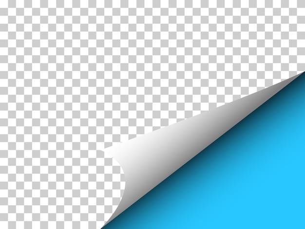 透明な上にカーリングコーナーと影のある紙