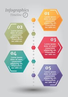 抽象的なタイムライン六角形ビジネスオプションまたはステップインフォグラフィックステンプレート