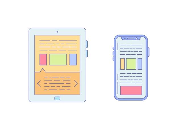 ビジネスの仕事のためのタブレットのスマートフォン並ぶアイコン