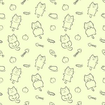 かわいい猫手描き下ろし漫画スタイルのシームレスパターン。