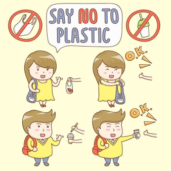 Элементы дизайна вектор милые герои мультфильмов отказываются использовать пластиковый контейнер.