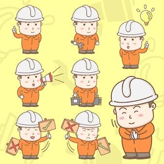 かわいいアクションで安全つなぎ服スーツの産業労働者の漫画のキャラクター