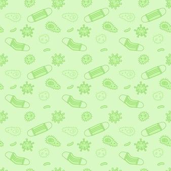 Хирургическая маска с воздухом бактерий и вирусных частиц рука нарисованные дизайн бесшовный фон.