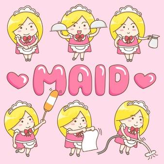 かわいいメイドの漫画のキャラクターのデザイン要素ベクトル。