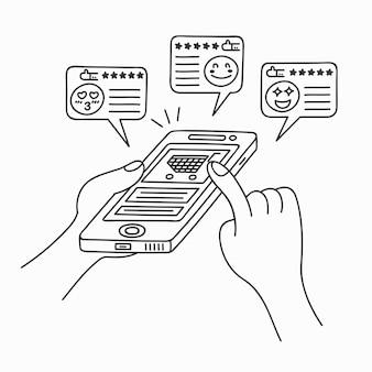 製品ショッピングモバイルアプリケーションを買う人々の落書きアート漫画の描画スタイル。