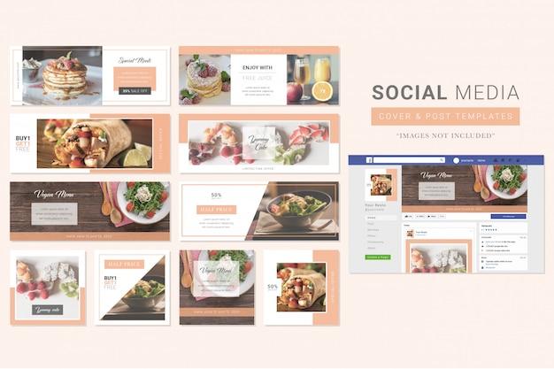 レストラン食べ物ソーシャルメディアカバー&ポストテンプレート