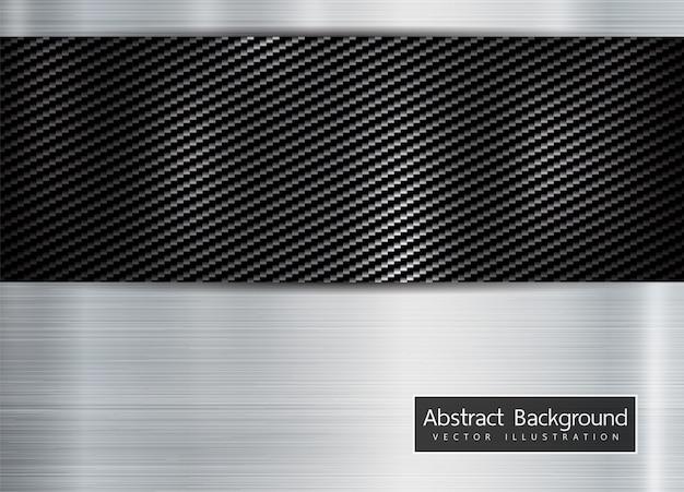 カーボンケブラーの背景に抽象的な金属フレーム