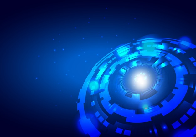 Синий абстрактный футуристический электронный круг технологии фон
