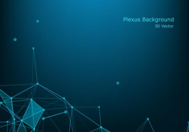 Технология молекул с линейными и многоугольными формами на темно-синем
