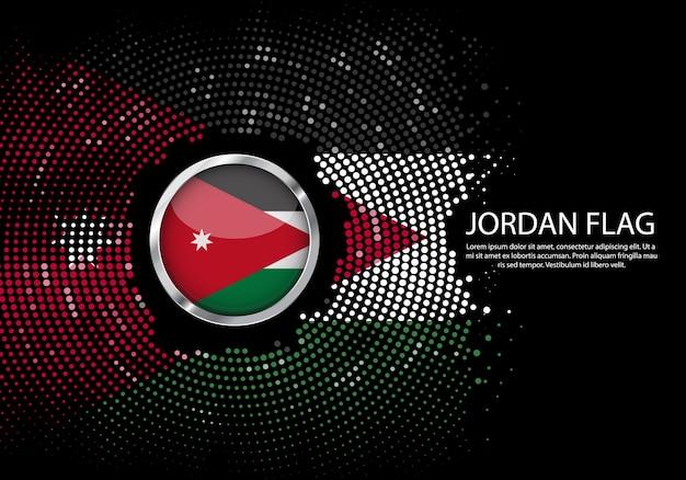 背景ヨルダン旗のハーフトーングラデーションテンプレート。