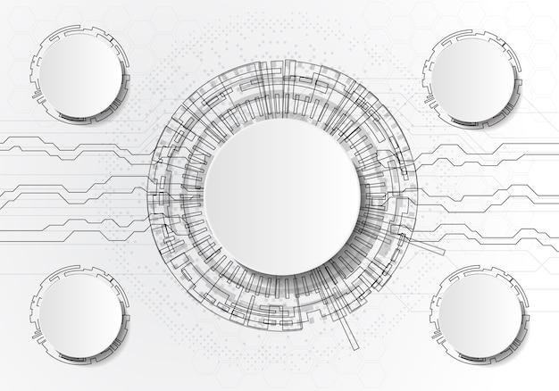 ベクトル抽象的な未来の回路基板ライトグレーの背景
