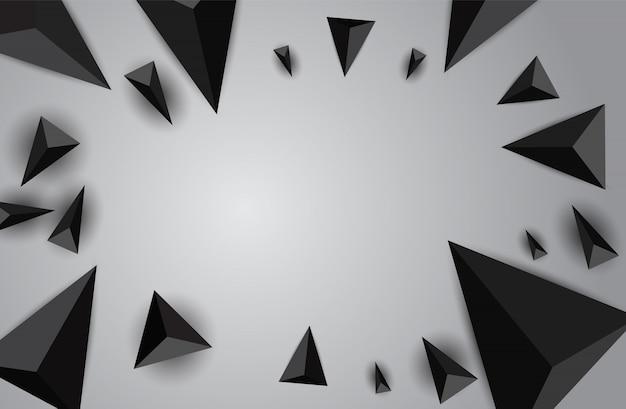 飛んでいる三角形と抽象的な背景