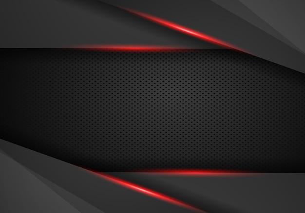 抽象的なメタリックモダンな赤黒フレームデザイン
