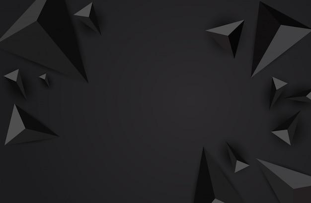 抽象的な三角形の黒い背景。