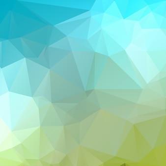 ブルーグリーンの幾何学的なしわくちゃの三角形低ポリ背景
