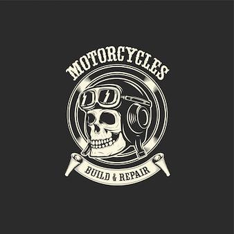 頭蓋骨のオートバイのヘルメットの図