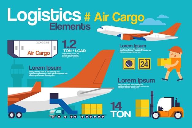 Логистика, инфографика и элементы авиагрузов.