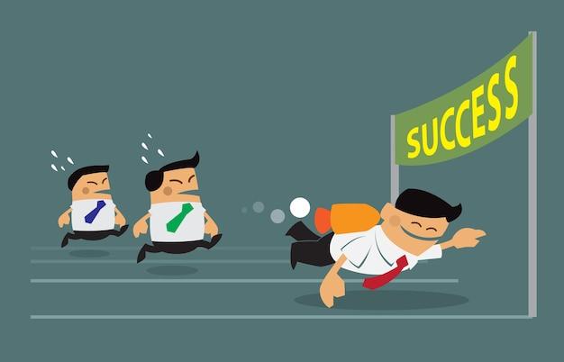 ビジネスマンは成功に向かって競争します。
