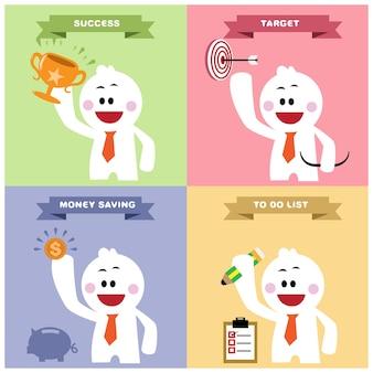 成功、目標、お金の節約、リストを行う。