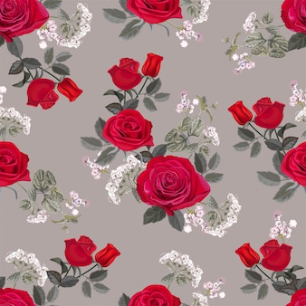 赤いバラのベクトル図と花のシームレスパターン