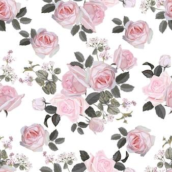 ピンクのバラのベクトル図と花のシームレスパターン