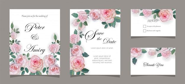 ローズとの結婚式の招待状カードのテンプレート