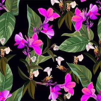 熱帯の花と葉とカンナのユリのシームレスパターン