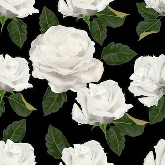 ホワイトローズのシームレスパターン