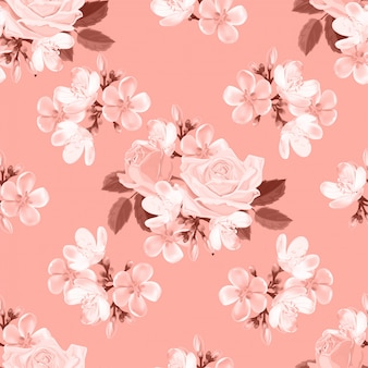 バラのシームレスなパターンベクトル図