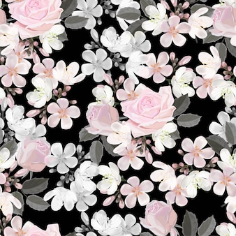 ピンクの花のシームレスなパターンベクトル図