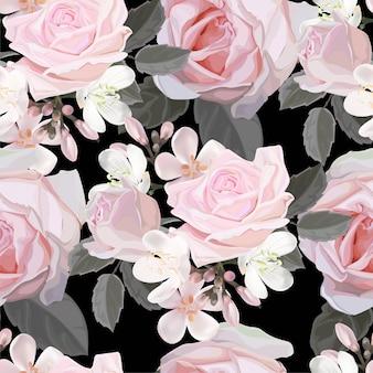 ピンクのバラのシームレスなパターンベクトル図