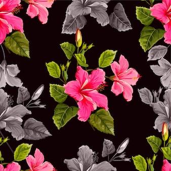 ハイビスカスの花のシームレスなパターン