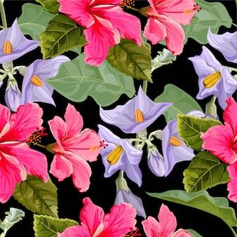 ハイビスカスの花と花のシームレスパターン