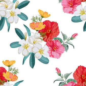 シームレスパターンの花のベクトル図