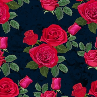 バラの花のベクトル図とのシームレスなパターン