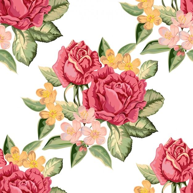 レトロなスタイルのバラのシームレスパターン