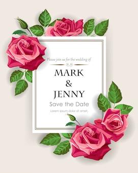 ウェディングカードのテンプレートに赤いバラ