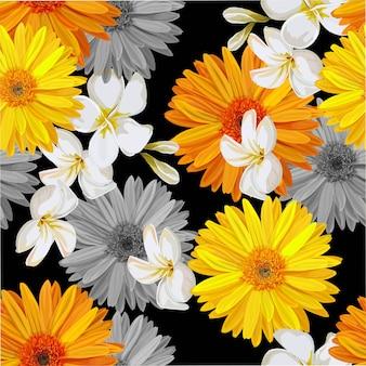 熱帯の花のベクトル図とのシームレスなパターン