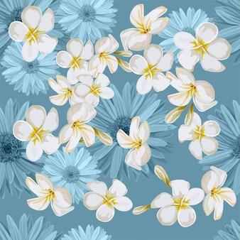 Бесшовные с тропическим цветком векторная иллюстрация