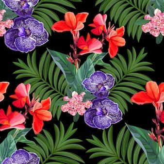 熱帯の花とのシームレスなパターン