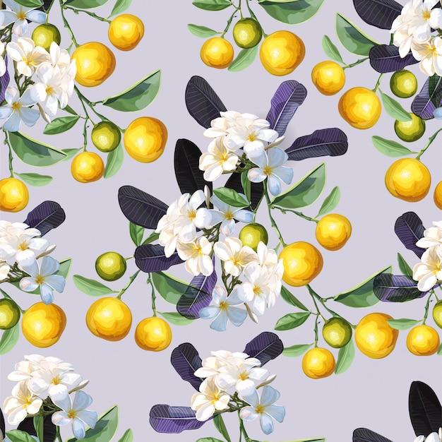 オレンジとプルメリアの花のシームレスパターン