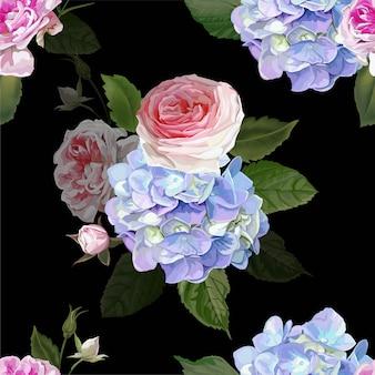 Роза и гортензия бесшовный фон