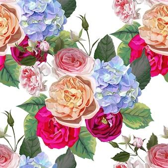 バラとアジサイの花の花束