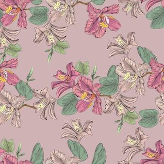 バウヒニアとハイビスカスの花のシームレスなパターン
