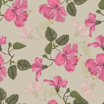 ハイビスカスの花のシームレスパターン