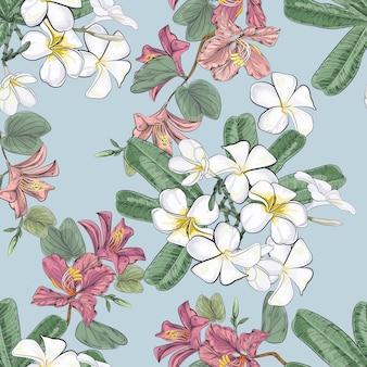 ハイビスカスとプルメリアの花のシームレスパターン