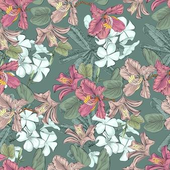 バウヒニアとプルメリアの花のシームレスパターン